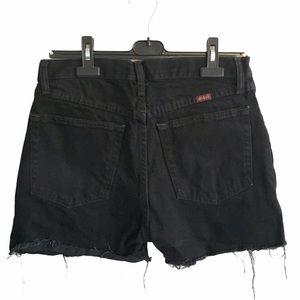 RUSTLER Vintage High Waisted Denim Shorts Black 32